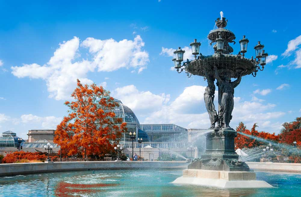 Washington DC historical Bartholdi Fountain and United States Botanic Garden Conservatory