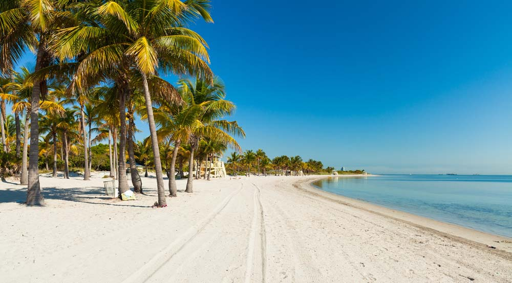 Beautiful Crandon Park Beach located in Key Biscayne in Miami._