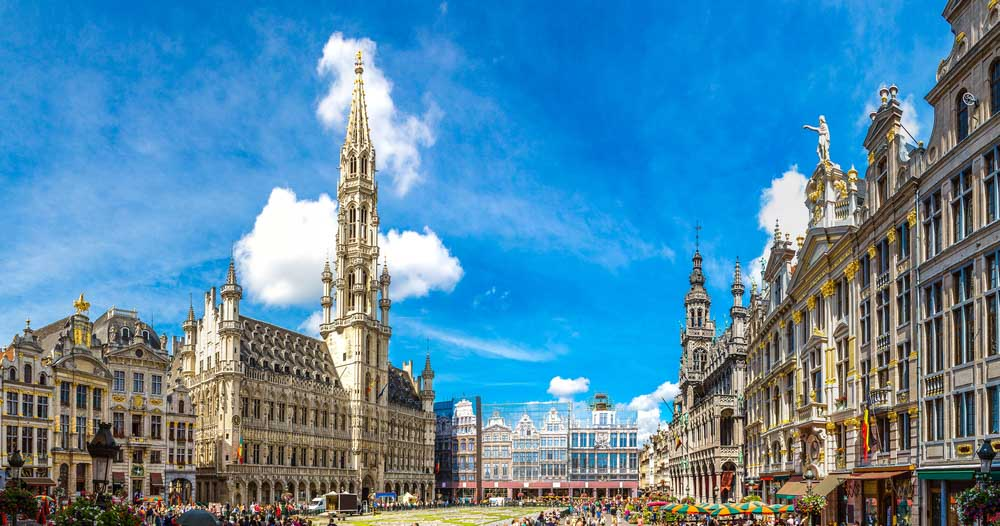 Grand Place in a beautiful summer day in Brussels, Belgium