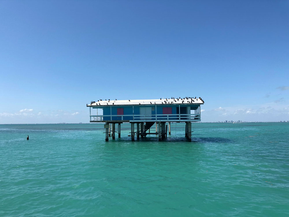 Historic Stiltsville, a collection of homes on Stilts in Biscayne Bay National Park, shutterstock