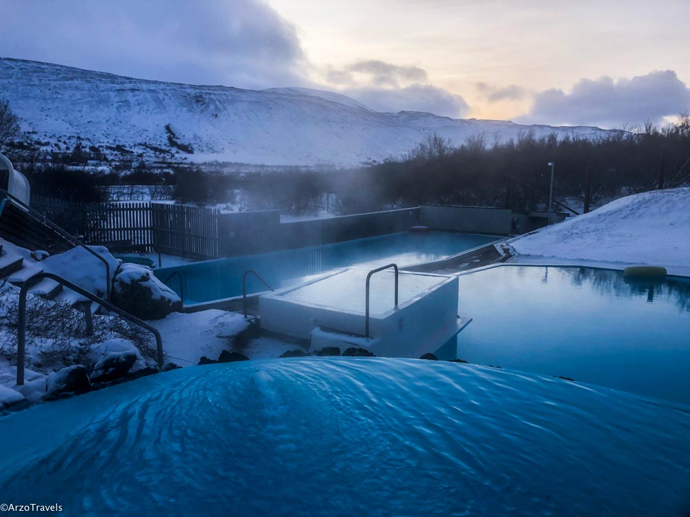 Hot pools in December in Iceland