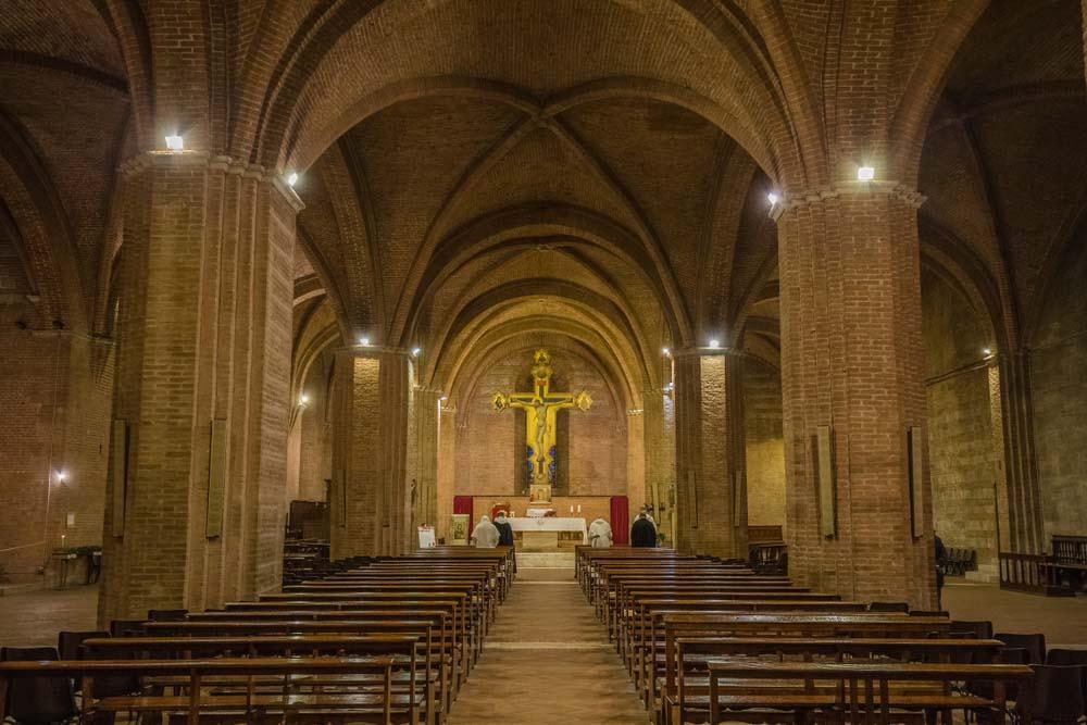 Interior of crypt of Basilica of San Domenico or Basilica Cateriniana in Siena. John_Silver, Shutterstock.com