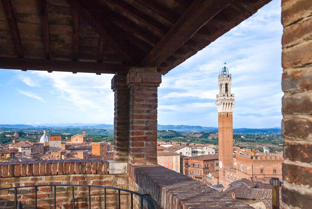 Siena,view of the Del Mangia tower from the Cathedral's Facciatone belvedere