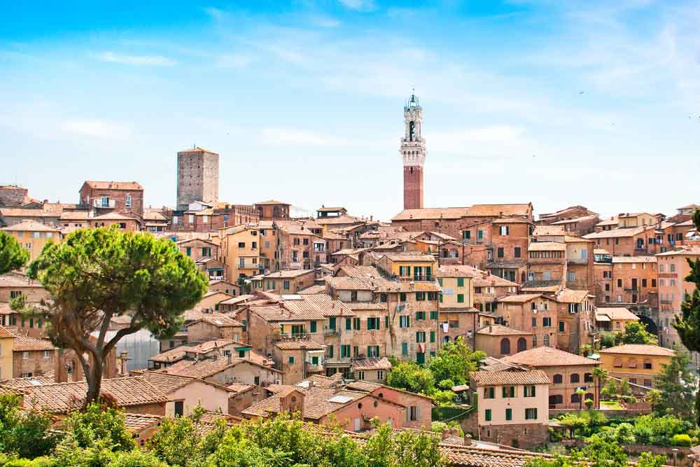 view of the historic city of Siena, Italy _
