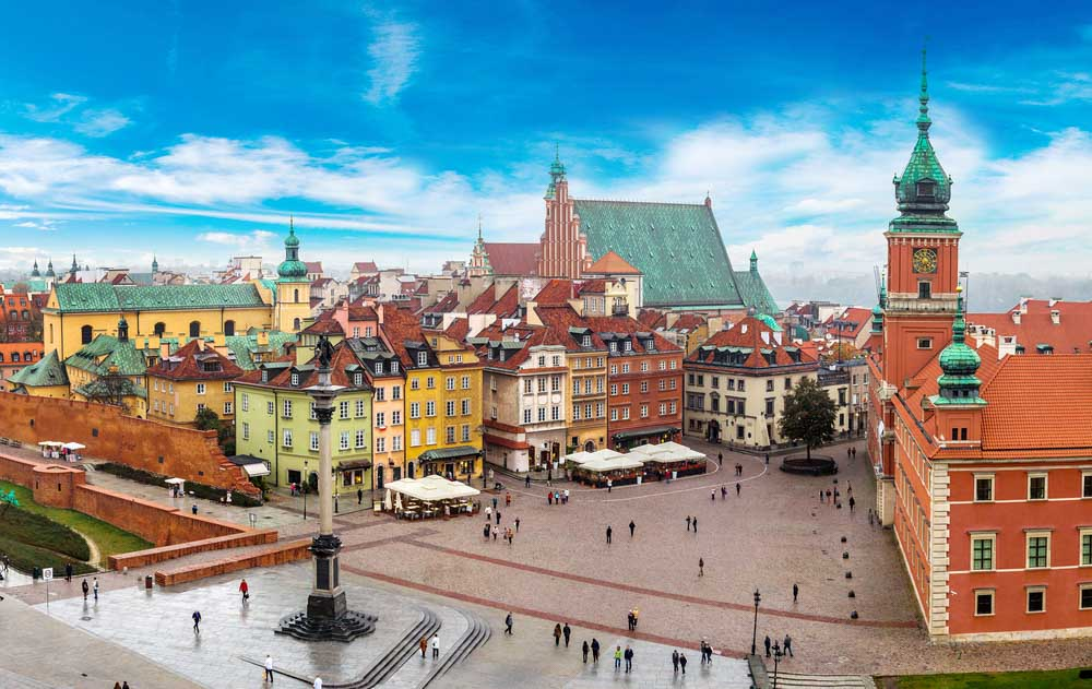 Panoramic view of Warsaw in a summer day n Poland_