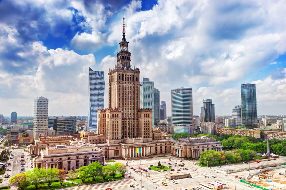 Warsaw, Poland. Aerial view Palace of Culture and Sciences
