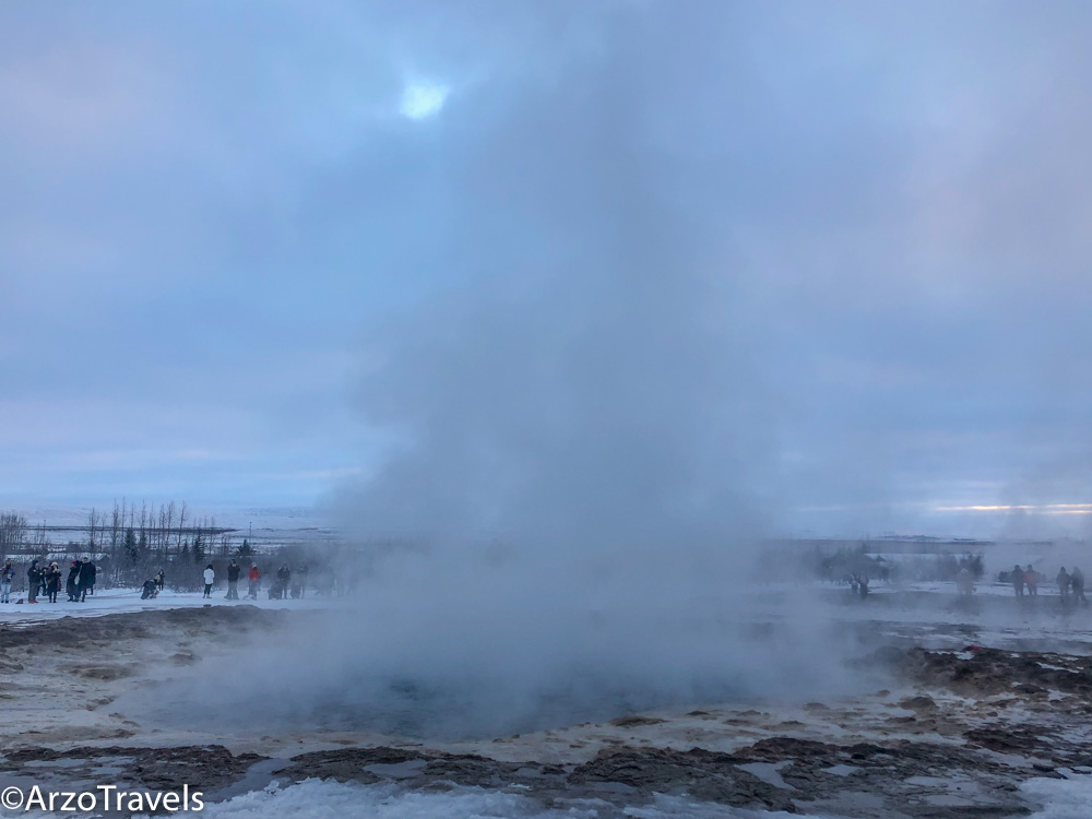 Geysir Geothermal Area as a day trip in winter from Reykjavik