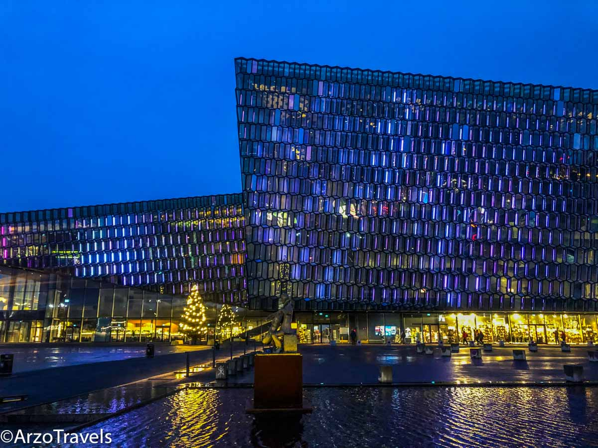 Harpa Center in Reykjavik in winter