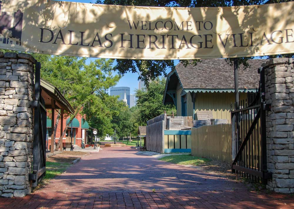 Landscape view of the entrance to the Dallas Heritage Village Shutterstock