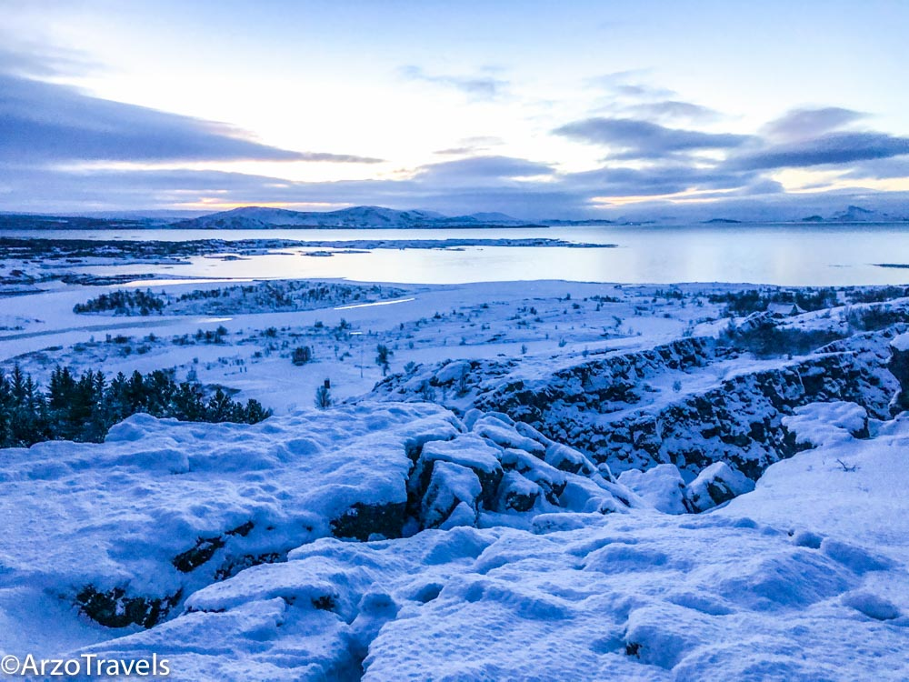Thingvellir National Park at sunrise in Iceland_