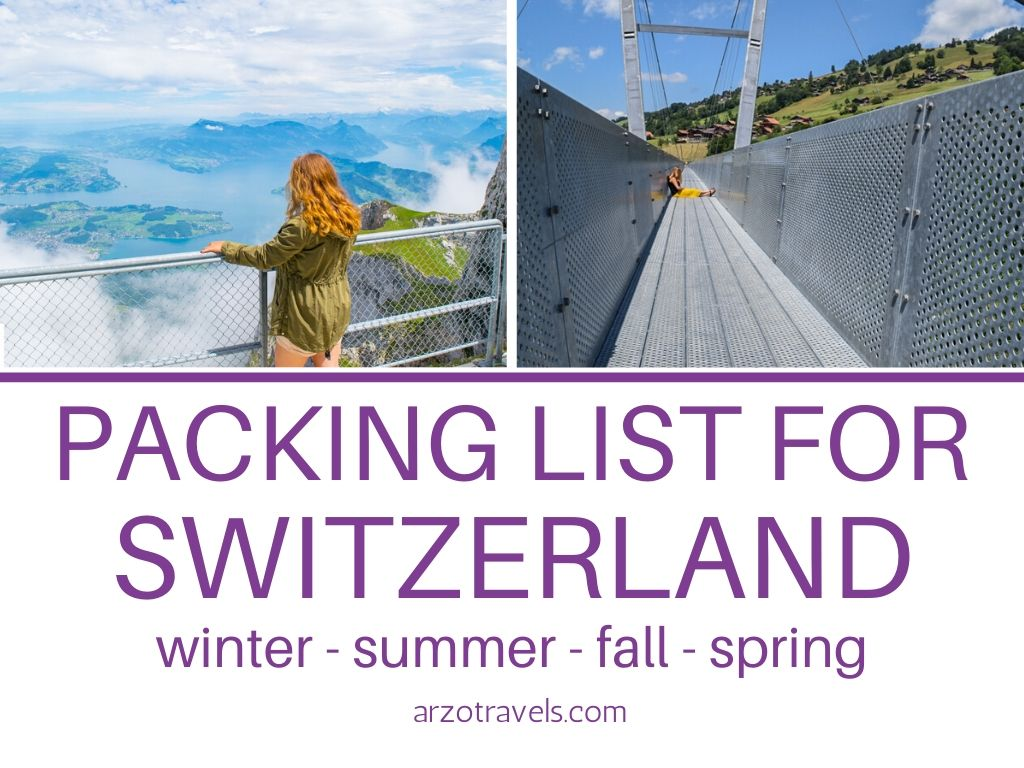 What to pack for Switzerland in winter, summer, fall or spring.