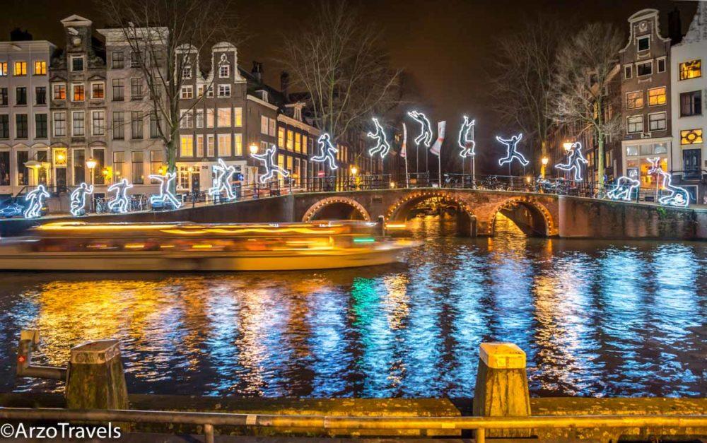 Christmas illumination in Amsterdam in winter