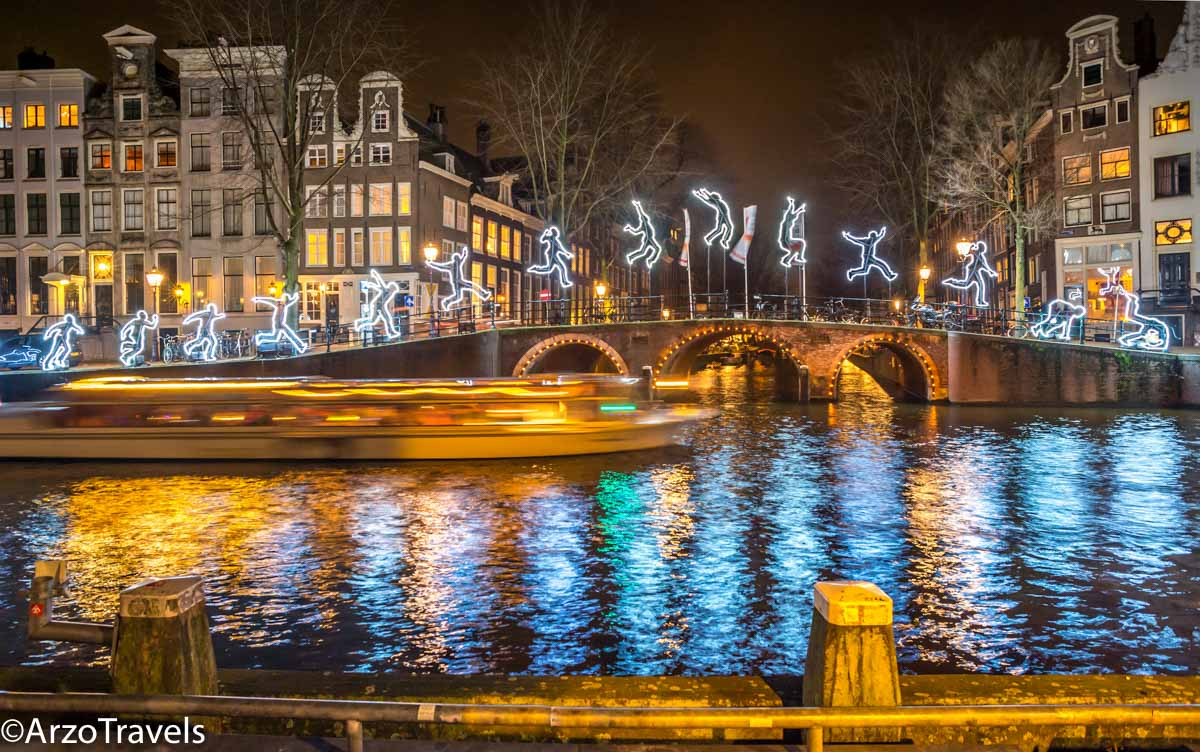 Christmas illumination in Amsterdam in winter