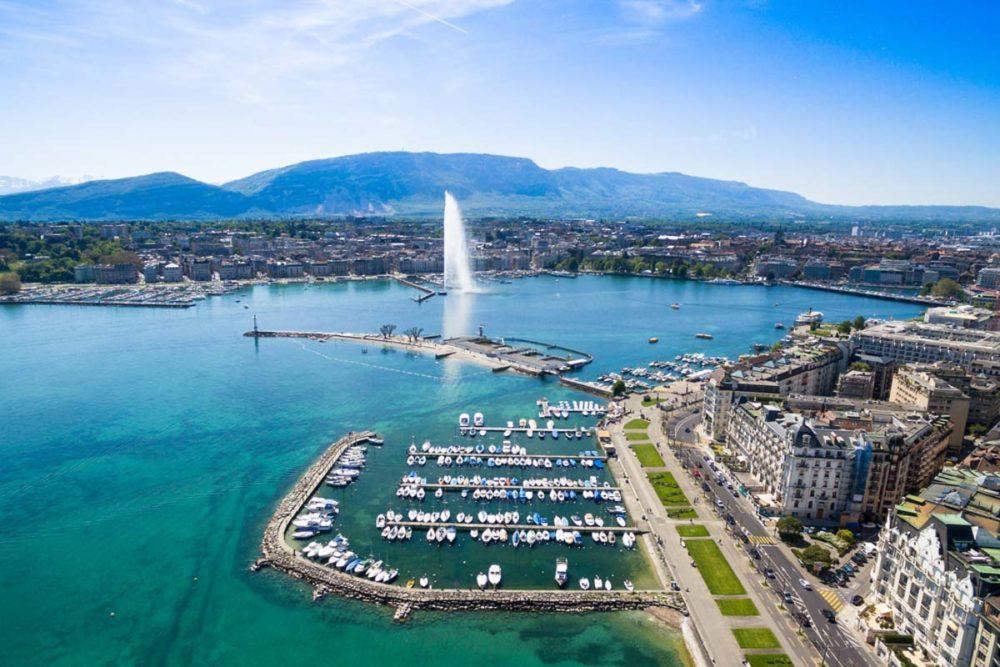 View of Lake Geneva in one day