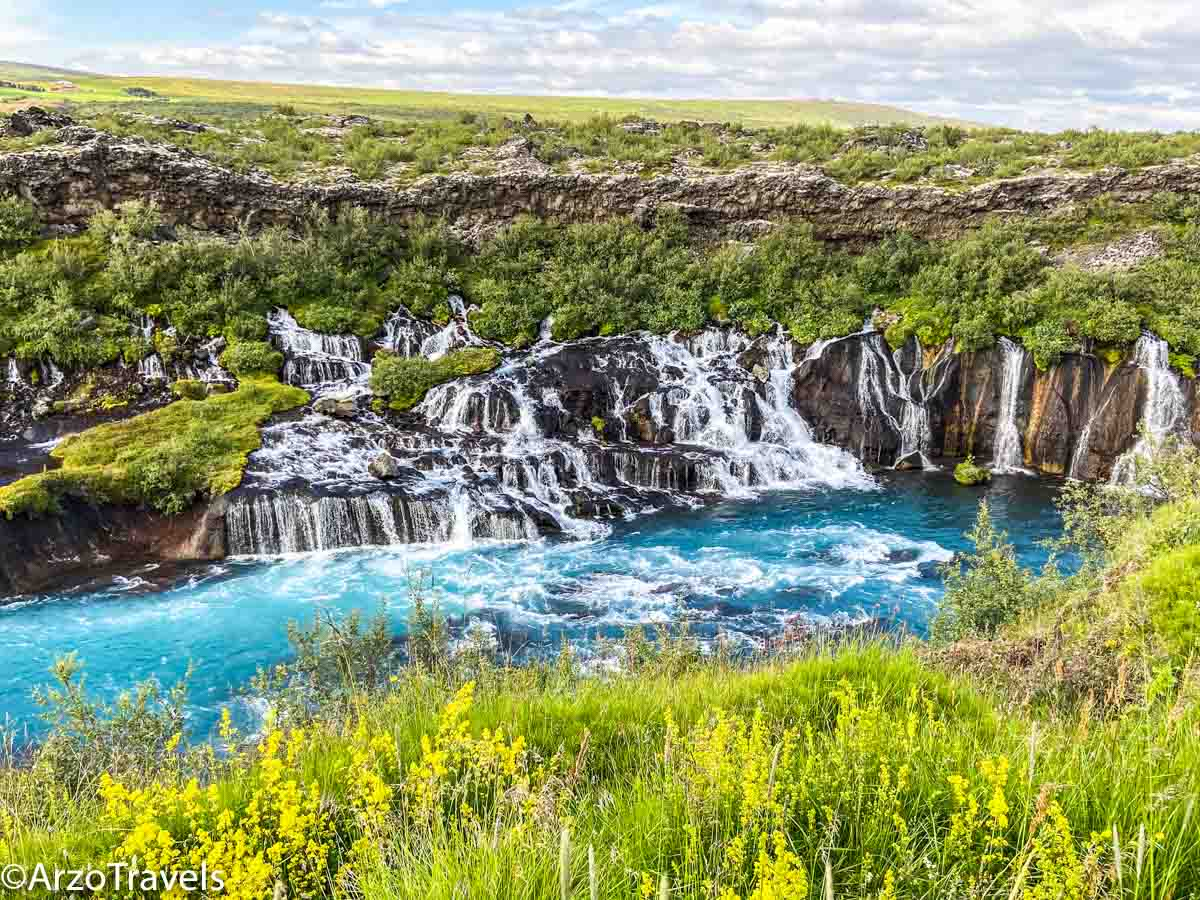 BARNAFOSSAR AND HRAUNFOSSAR WATERFALLS  in summer