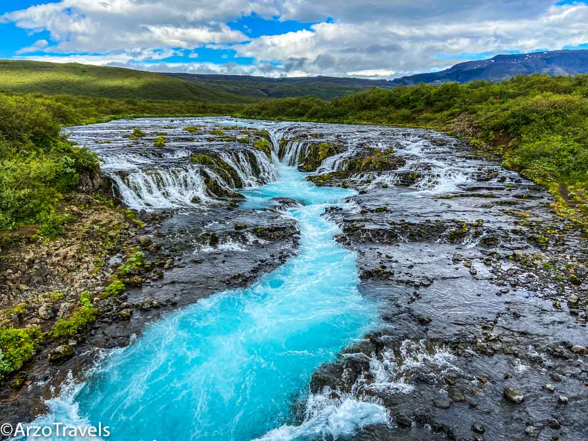 BRUARFOSS WATERFALL, amazing watercolor in Iceland
