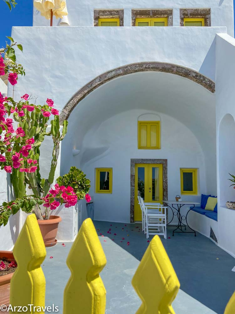 Colorful Pyrgos in Santorini, Greece with Arzo Travels