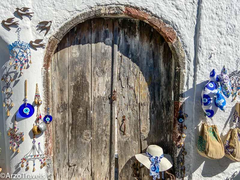 Doors in Pyrgos in Santorini, Greece with Arzo Travels
