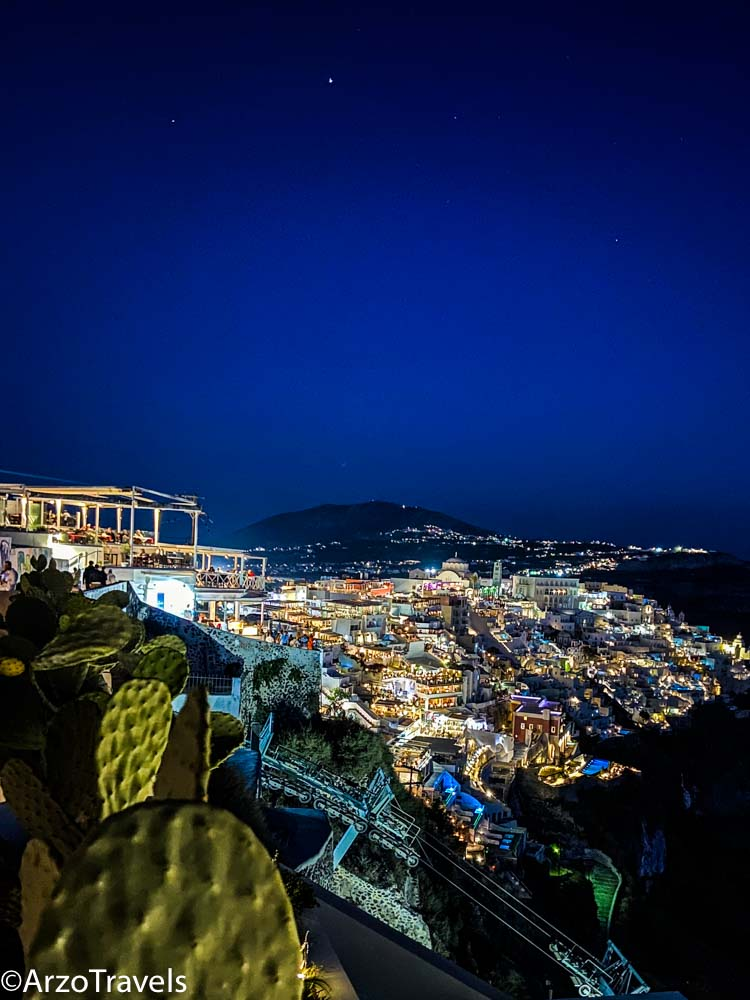 Fira Santorini at night, Greece with Arzo Travels