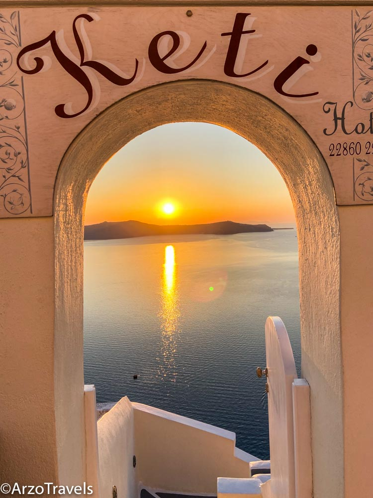 Fira Santorini sunset, Greece with Arzo Travels