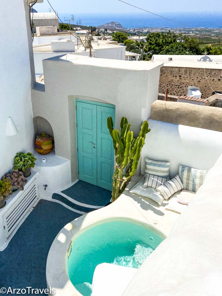 Hotel in Pyrgos in Santorini, Greece with Arzo Travels