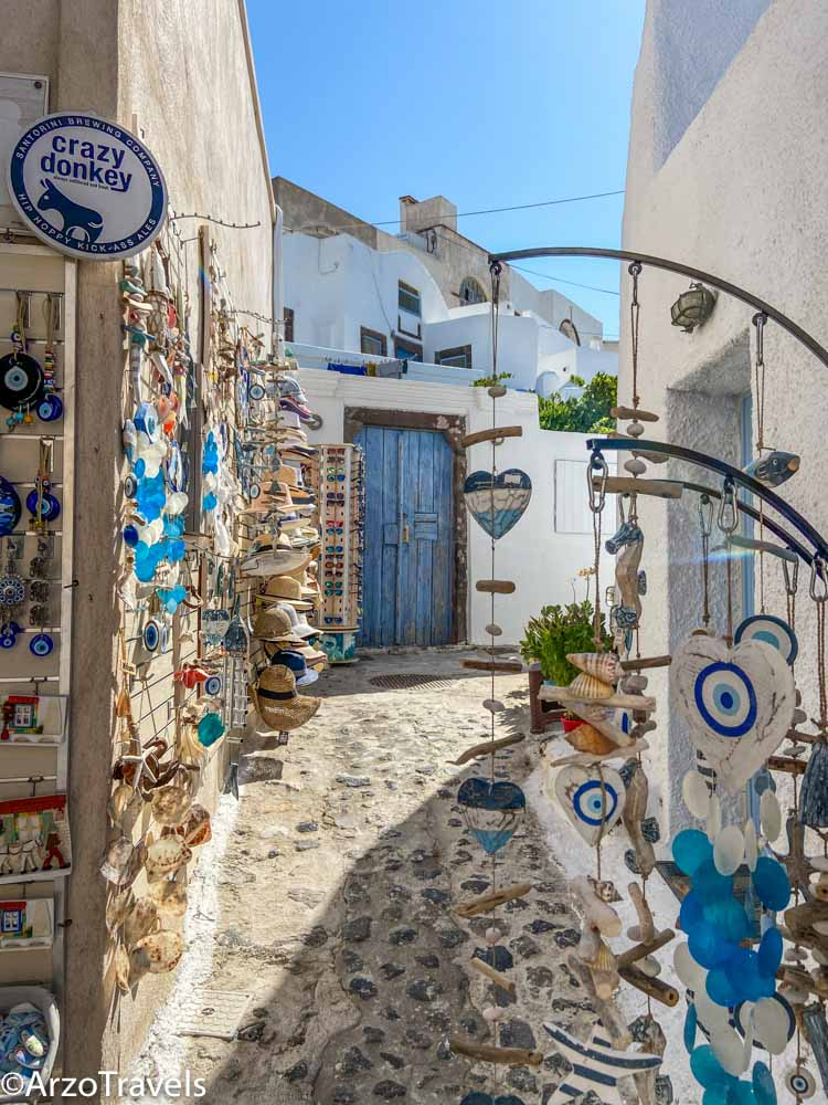 Narrow Streets in Pyrgos in Santorini, Greece with Arzo Travels