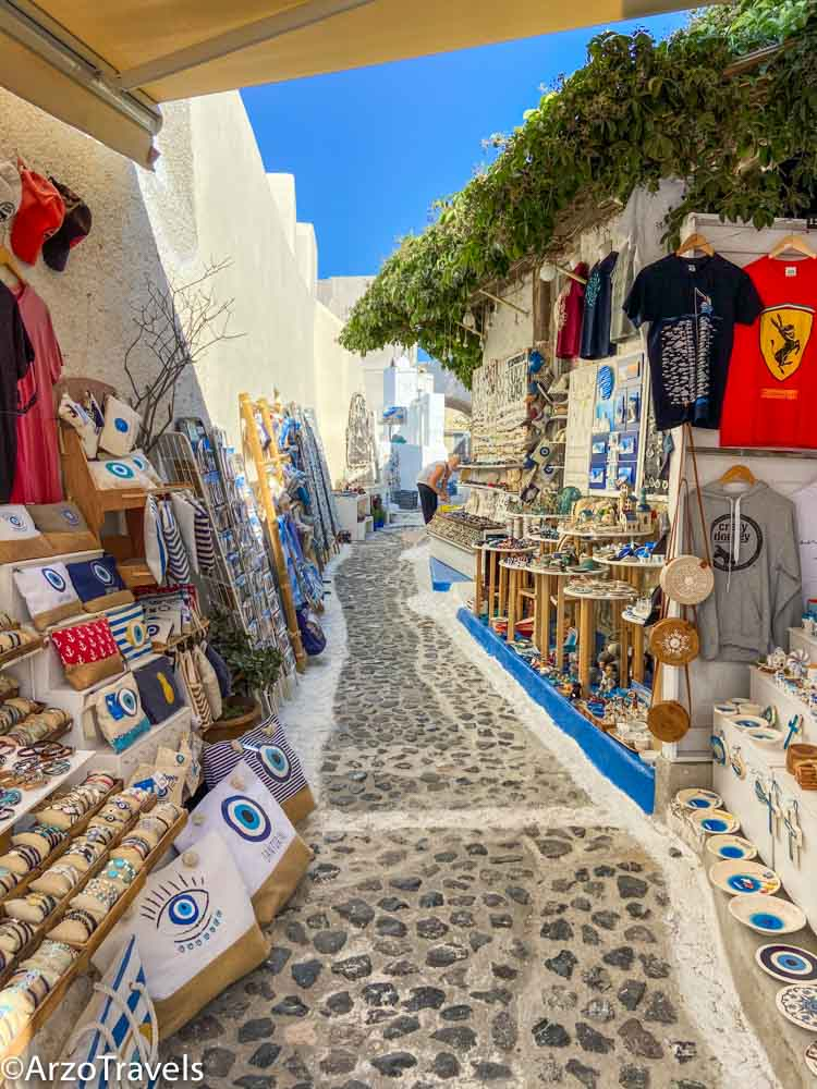 Shopping in Pyrgos in Santorini, Greece with Arzo Travels