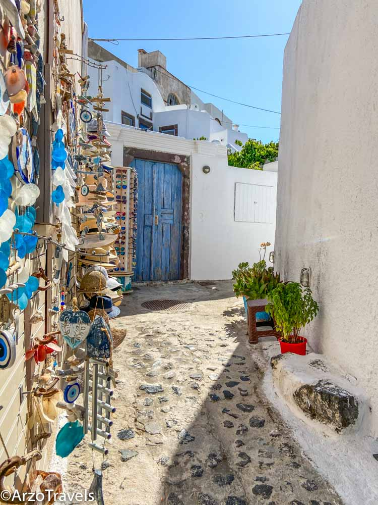 Shops in Pyrgos in Santorini, Greece with Arzo Travels