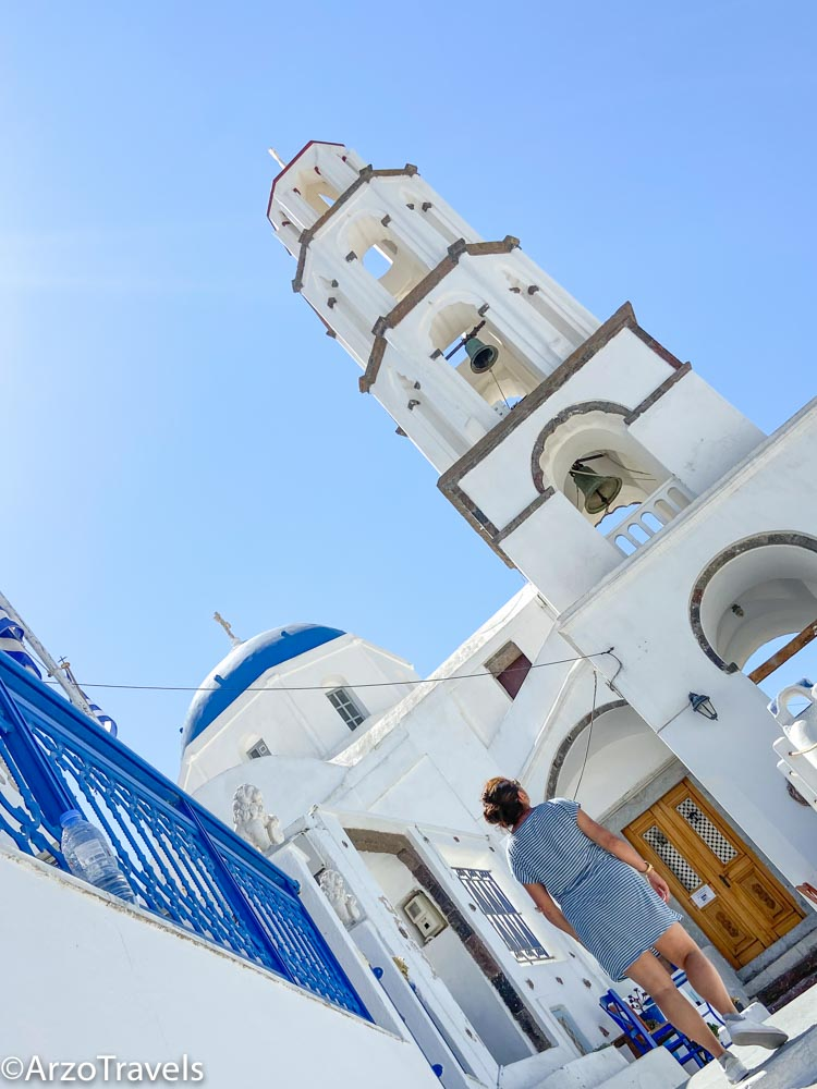 Solo female travel in Pyrgos in Santorini, Greece with Arzo Travels
