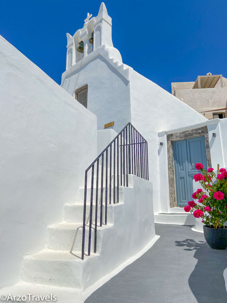 White buildings Pyrgos in Santorini, Greece with Arzo Travels