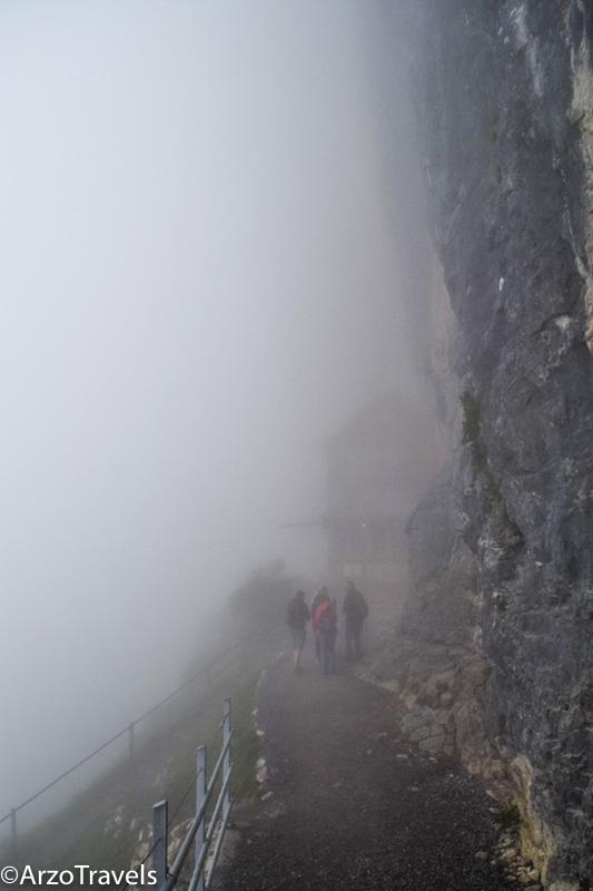 Aescher in the fog in Appenzellerland