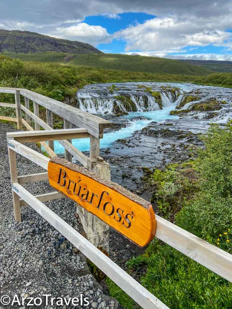 Bridge at Bruarfoss waterfalls_