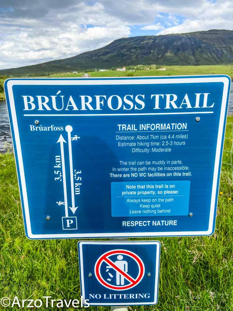 Bruarfoss trail sign