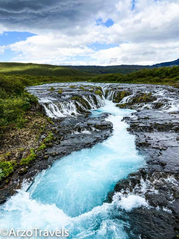 Bruarfoss waterfalls in its full glory