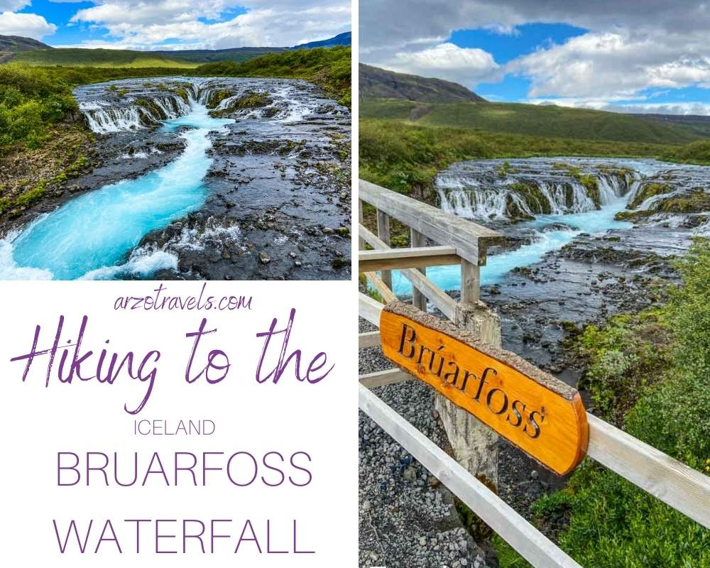 HIKING TO BRUARFOSS WATERFALL IN ICELAND