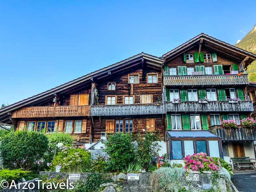 Houses in Iseltwald in Switzerland