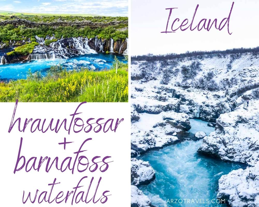 Hraunfossar and barnafosss waterfalls in Iceland, Arzo Travels