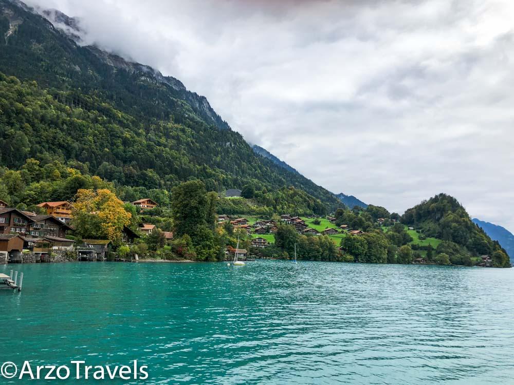 Walk shores Iseltwald in Switzerland