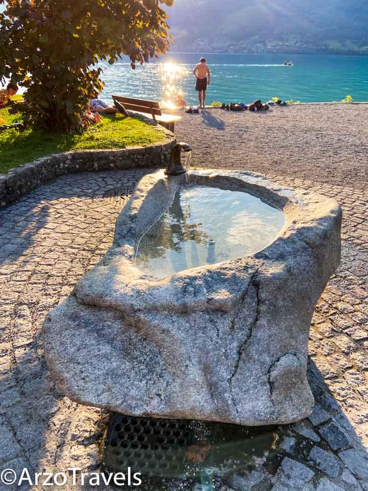 Water fountain Iseltwald in Switzerland